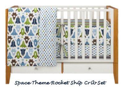 Navy blue and green baby boy space rocket ship nursery crib bedding set