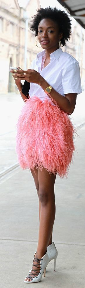 Pink High Waisted Faux Feather Mini Skirt | Keep The Glamour ♡ ✤ LadyLuxury ✤
