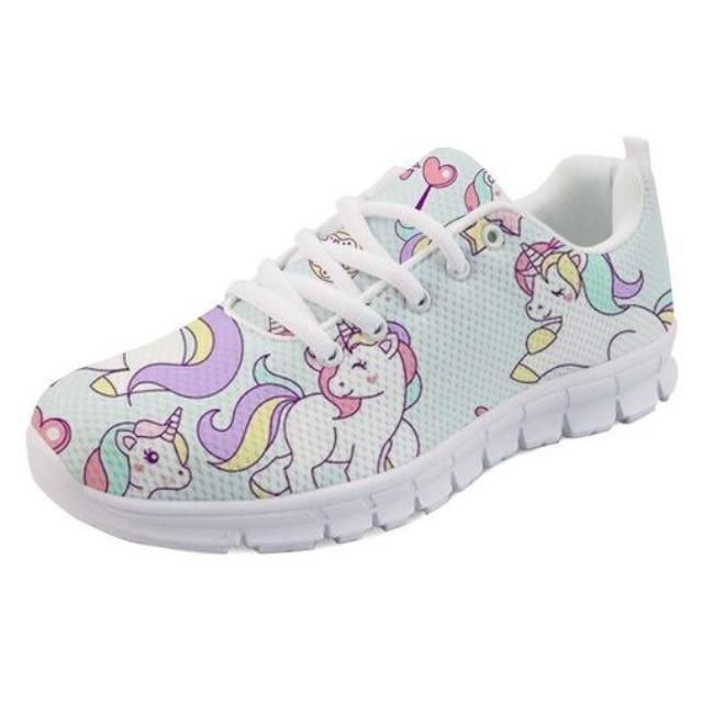 These adorable candy colored rainbow unicorn running shoes will score you endles…