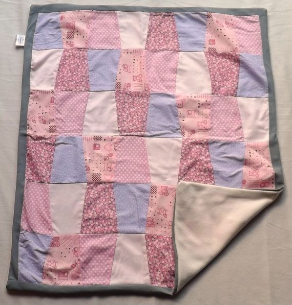 Pink Dots Patchwork blanket by LittleTsTextiles on Etsy