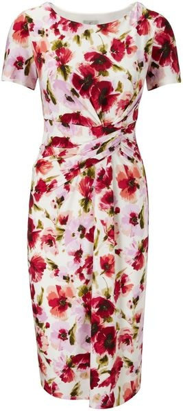 Perfect with jean jacket, or summer wedding guest... Multicoloured Blurred Poppy Print Dress - Lyst