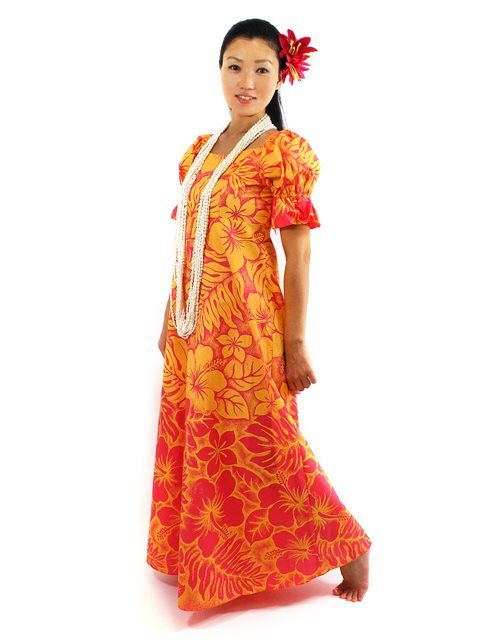 Hawaiian Muumuu [Gradation Medley/Orange]  | AlohaOutlet SelectShop