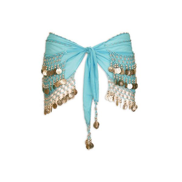 Turquoise with Multiple Row Coin Belly Dance Hip Scarve - At... ❤ liked on Polyvore featuring accessories, belly dancing, skirts, belly dance and belts