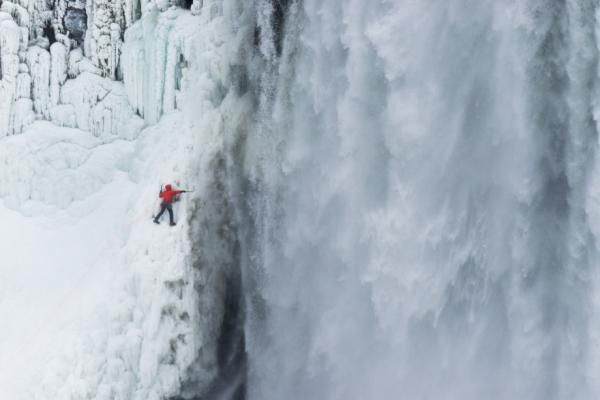 Will Gadd, an ice climber from Alberta, climbing frozen Niagara Falls
