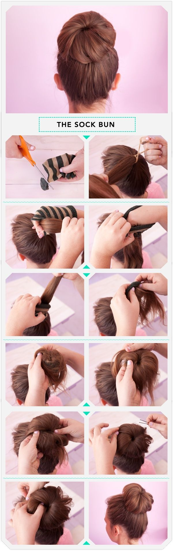 ~ How To Do a Sock Bun ~... mine is never this neat. Hopefully this will help me to make mine neater =D
