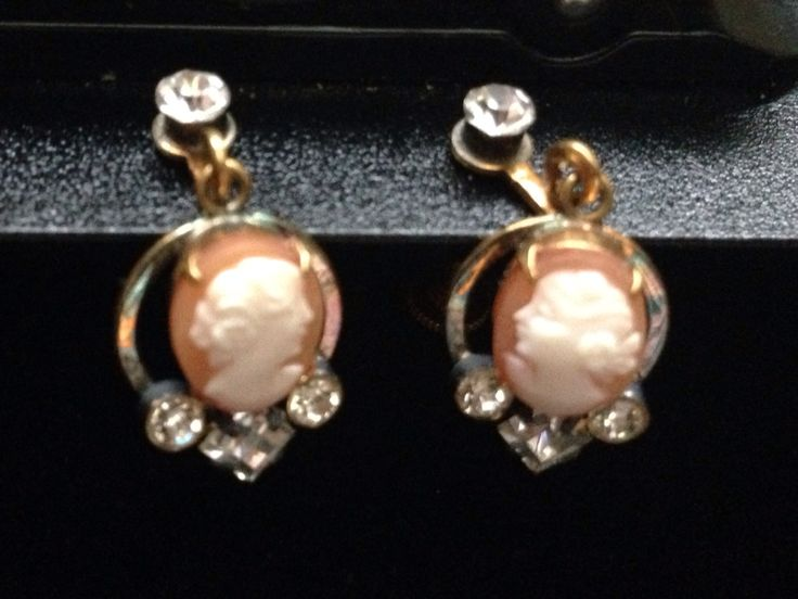 Gold Filled Cameo Screw Back Earrings with Rhinestones.