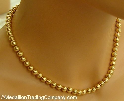 Fine Jewelry 14K Gold Beaded Necklace 9WbzF07