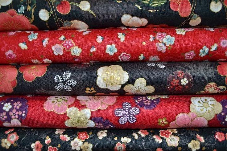 Lot de 6 coupons de Tissus Patchwork Japonais noirs et rouges