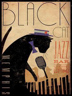 Black Cat Piano Jazz Bar artists print giclee via Etsy ~ by Stephen Fowler, Gemini Studio Art