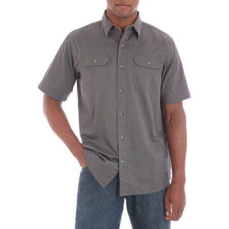 Wrangler Big Men's Short Sleeve Shirt with Pencil Pocket, Size: 2XL, Black
