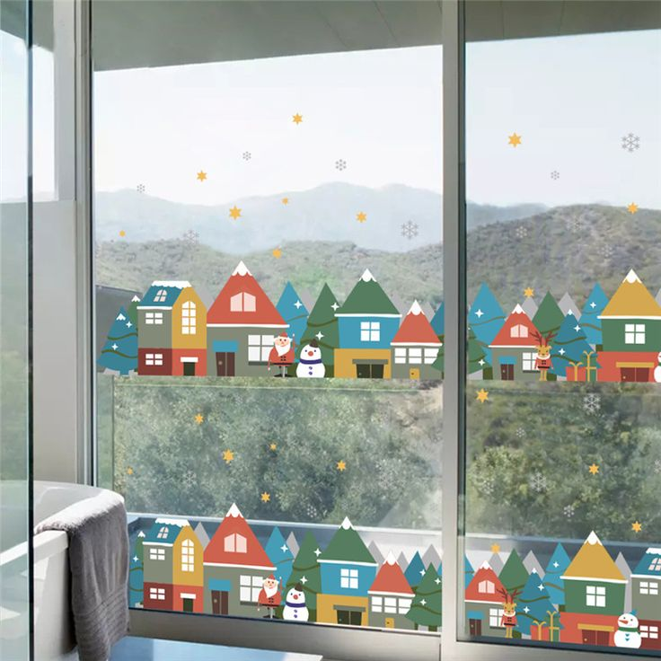 Christmas Winter Snow City House Wall Sticker Decals Window Party Decoration New Year Home Decor Poster Mural #Affiliate
