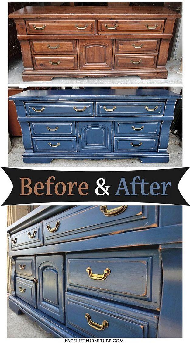 Distressed Denim Blue Dresser With Black Glaze | Glaze Furniture Rehab | DIY Paint Ideas For Your Old Furniture