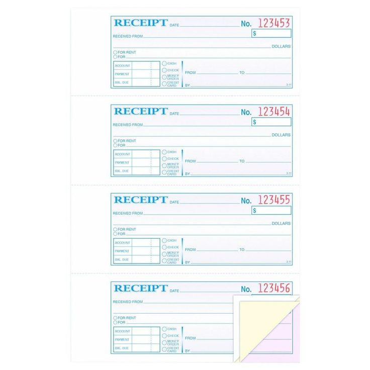 Adams Receipt Book, 7 5/8 x 11, Three-Part Carbonless, 100 Forms, Blue