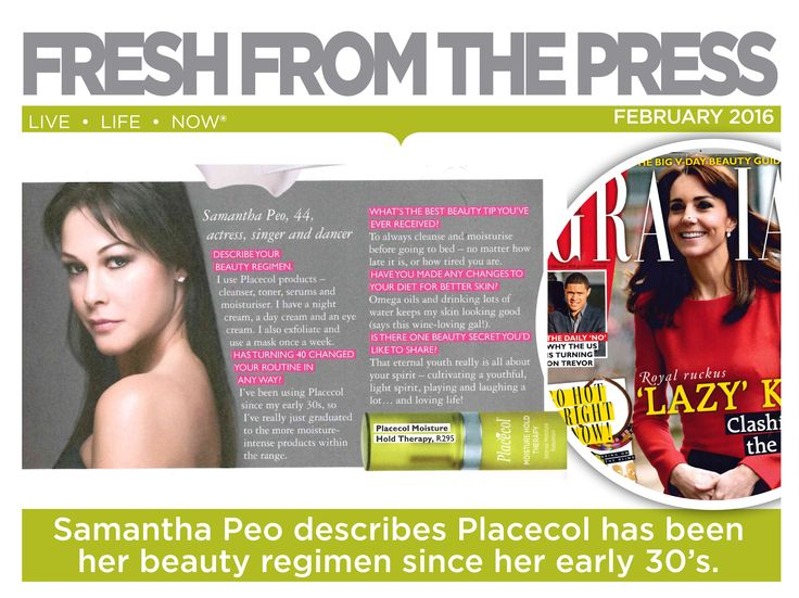 Samantha Peo, actress, singer and dancer describes how Placecol has been her beauty regimen since her early 30's. ‪#‎FreshFromThePress‬