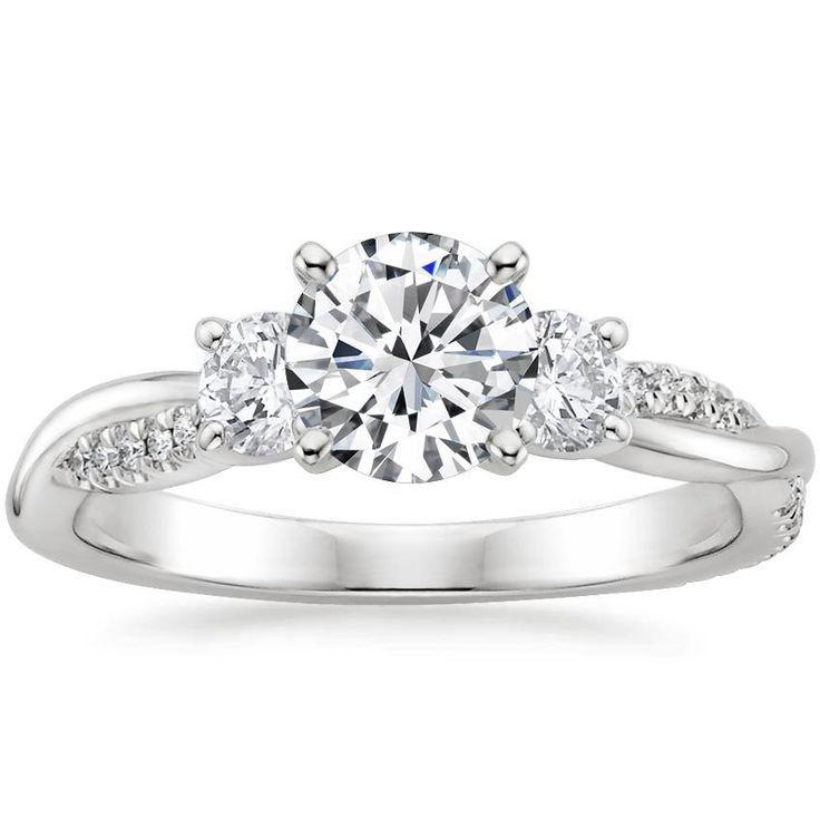 Pear Cut Three Stone Petite Twisted Vine Three Stone Diamond Engagement Ring – 18K White Gold (Setting Price)