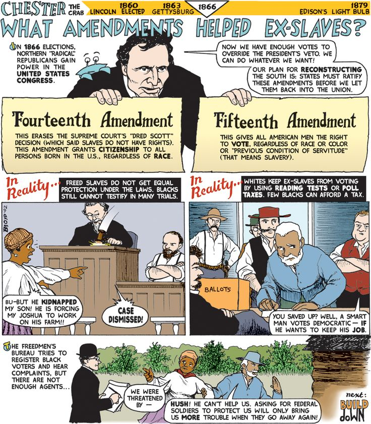 Reconstruction amendments that helped freed slaves
