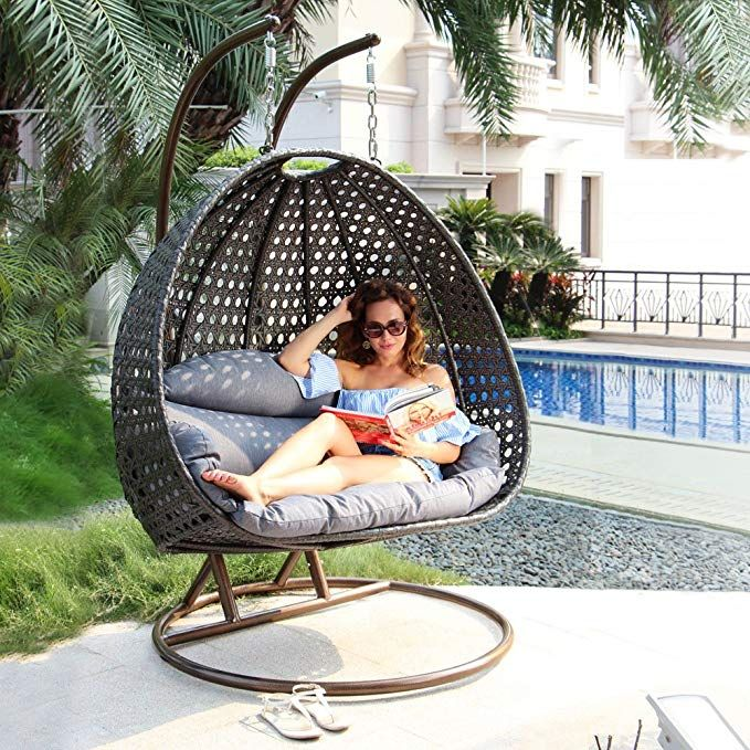 Island Gale Luxury 2 Person Wicker Swing Chair With Stand And