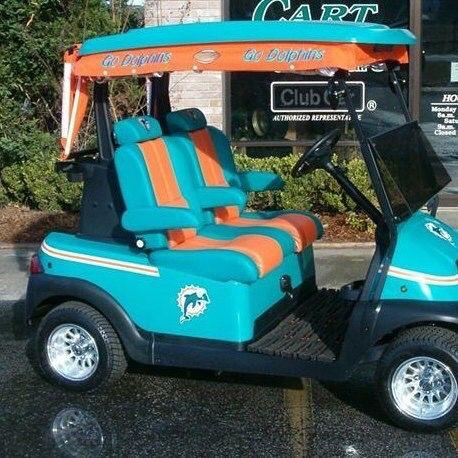 Golf cart miami dolphins pinterest golf and golf carts for Narrow golf cart