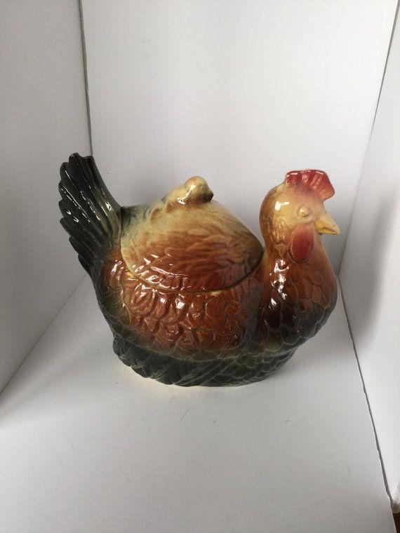 Vintage Fredricksburg Pottery Cookie Biscuit Jar Hen & Chick