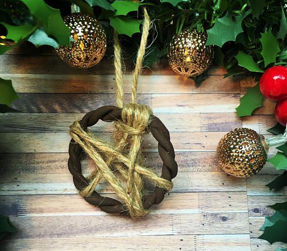 Pentagram Pagan Yule Tree Decoration Wicca Holidays Tree