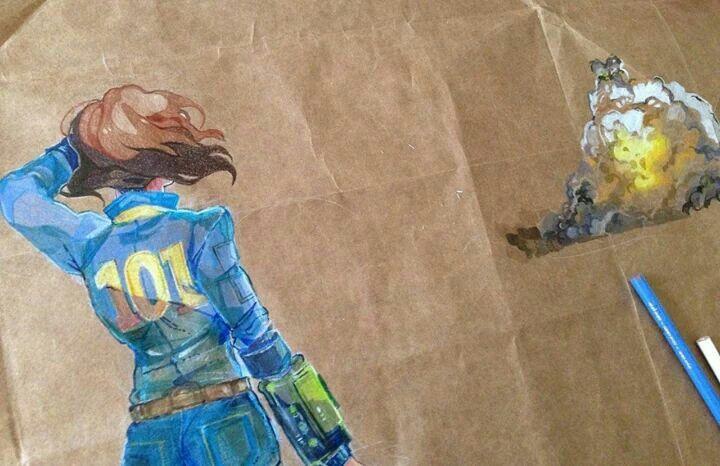 Fallout Anime- crayon drawing