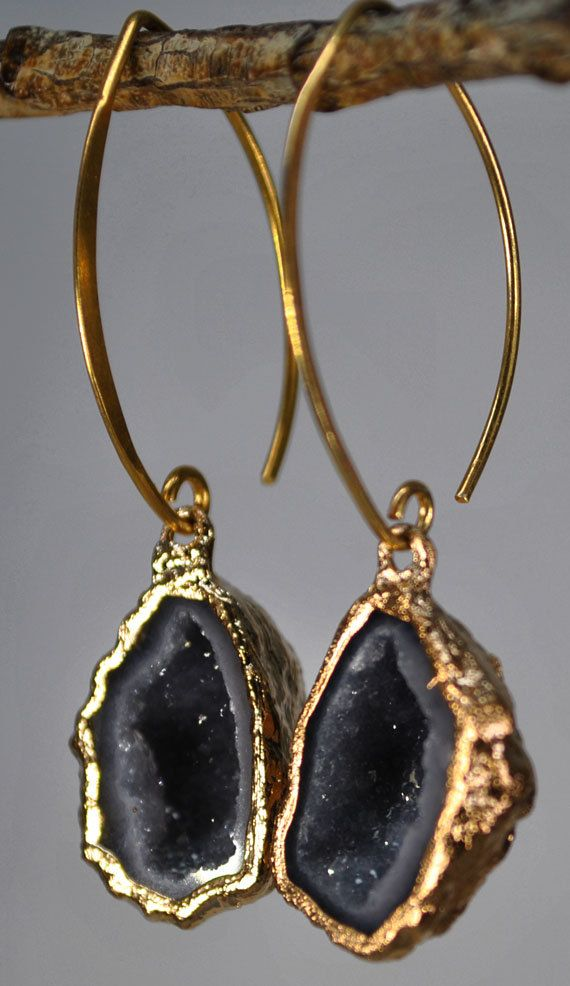 Mothers Day Sale Geode Earrings Druzy Earrings par MamacitaStudios