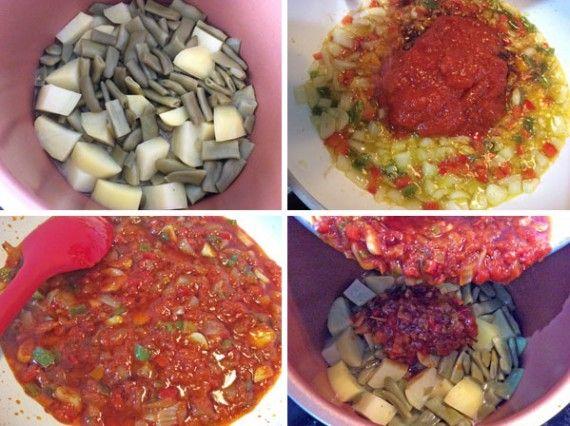 judias-verdes-guisadas-paso-a-paso, Judías verdes guisadas  INGREDIENTESpara 4 personas  750gr de judías verdes planas o redondas a tu gusto (también pueden ser congeladas. En la foto hemos usado congeladas)1 patata grandeMedia cebolla4 dientes de ajo1 tomate grande y maduroOpcional: 1 pimiento verde o un trozo de pimientorojo1 vasos de caldo casero de pollo o verduras (puedes usarlo de cubitos)Aceite de oliva virgen extra, sal y pimienta  ELABORACIÓN  Limpiamos y deshebramos las judías…