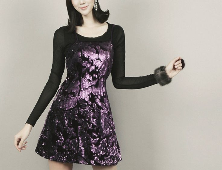 Sleeveless Geometric Violet and Black Sequined Party Mini Dresses Club wear   #nobrand #Sequindress #Clubwear
