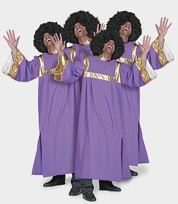 Gospel zanger kostuum/jurk voor heren bestaande uit een lange paarse jurk met gouden banden. Deze Gospel kleding kunt u voor een heel gospel koor bestellen. Ook de bijpassende afropruiken leveren wij uit voorraad en kunt u los mee bestellen.