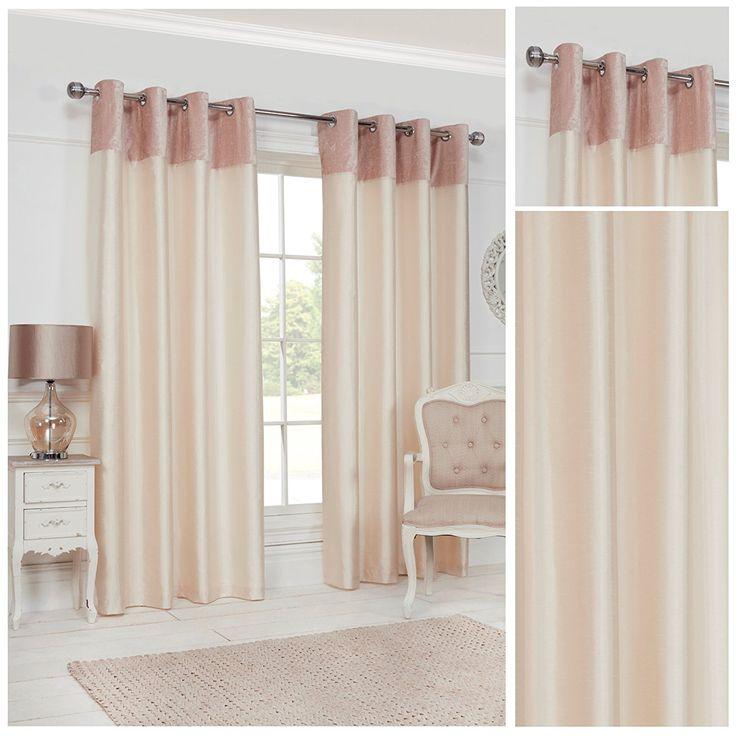 Velvet Border Cream Ring Top Eyelet Fully Lined Readymade Curtain Pair 90x90in228x228cm