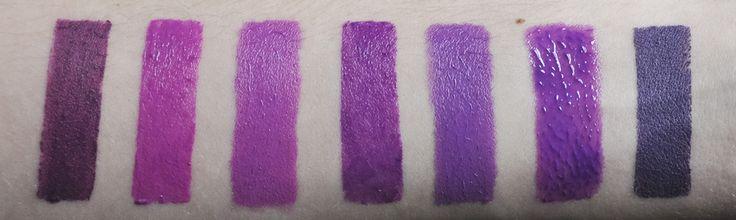 Revlon Colorburst Matte Balm in Shameless | Maybelline Color Sensational Vivid Lipstick in Brazen Berry | OCC Lip Tar in Hoochie | Maybelline Color Sensational Lipstick in Lavender Voltage | OCC Lip Tar in Belladonna | Maybelline Color Elixir Lip Color in Vision in Violet | Illamasqua Lipstick in Kontrol; swatched by The Doppelganger http://www.thdpplgngr.com/2013/11/fuchsia-violet-lip-color-comparisons.html