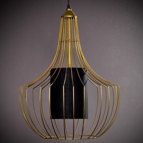 1960 S INSPIRED CEILING PENDANT WITH BLACK SHADE WITHIN A GOLDEN WIRE CAGE BELLA H540 L430 D430