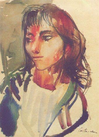 Retrato de joven dama : Juan Carlos Castagnino