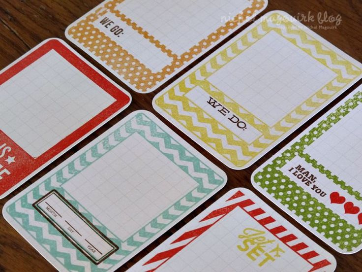 Even more stamped journaling cards for Project Life from Nichol Magourik. (You can do this basic idea by using a background stamp and masking off the journaling areas)
