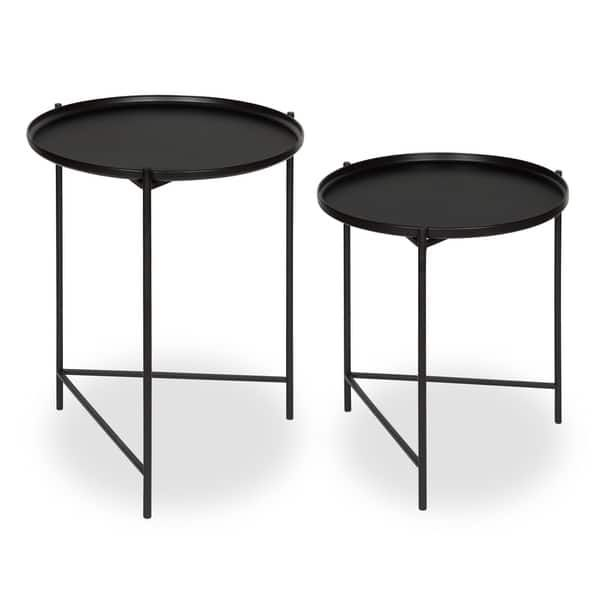 Kate And Laurel Ulani Set Of 2 Nested Round Metal End Tables In 2020 Metal End Tables Coffee Table Small Accent Tables