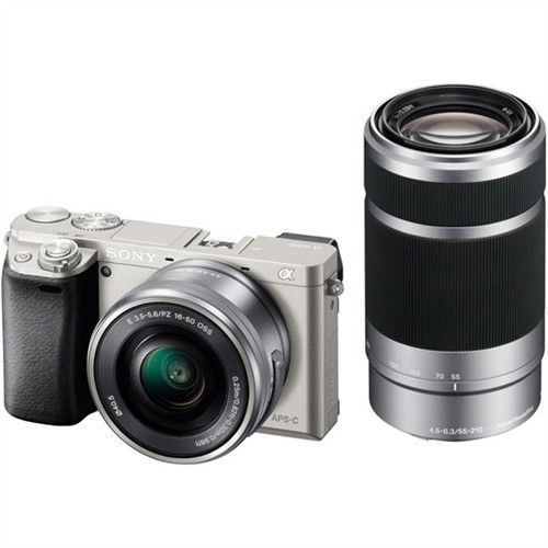 Sony A6000 Silver Double Kit (16-50)(55-210) (ILCE-6000Y) Mirrorless Digital Camera