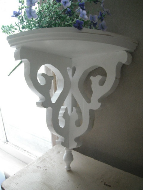 Corner Shelf, Wooden Shelf, Painted Shelf, Shabby Chic, French Country,  Ornate