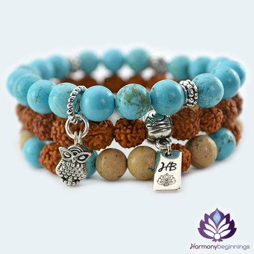 Our Peace Guru stretch bracelet stack has been designed with Rudraksha activated mala beads and Sand Jasper and Turquoise Gemstones. Finished with Tibetan Silver accent beads and Owl charm. These mystical, healing and protective stones are a very powerful combination to carry. Surrender to the harmonious vibration, feel the balance and peace within. This design is a stack of 3 individual stretch bracelets, great to combine with our other ...