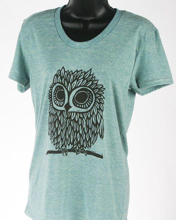 Owl on Tri-Lemon Tri Blend Women's American Apparel by miasunique