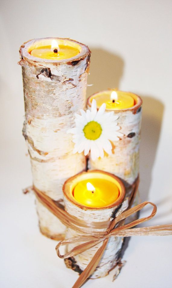 Birch Log Candle Holder Natural Tea Lights set of THREE Candle Trio Gift set Shabby Chic Minimalist Wedding Decor