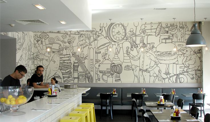 Byron Hamburgers / Mr Bingo   Design Graphique Handmade tiles can be colour coordinated and customized re. shape, texture, pattern, etc. by ceramic design studios