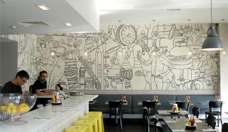 Une illustration murale signée Mr Bingo pour un restaurant de la chaine Byron Hamburgers.