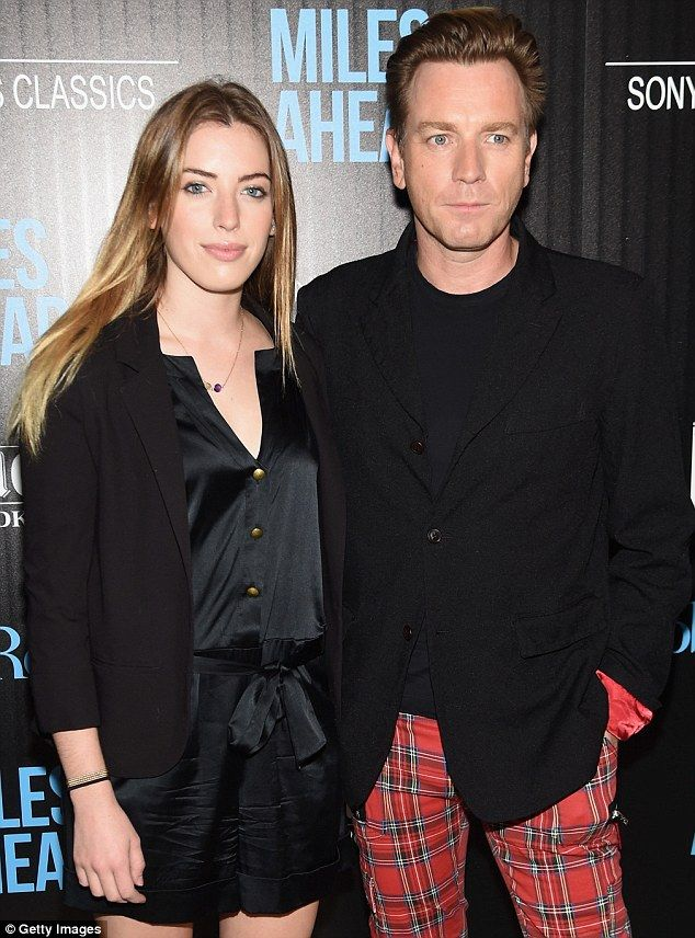 #EwanMcGregor Family night out: The Scottish actor, 44, looked proud as punch as he posed with his daughter at the star-studded celebration of his latest movie