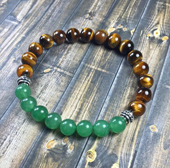 Men's tiger eye and jade bracelet mens bracelet by SJIJewelry