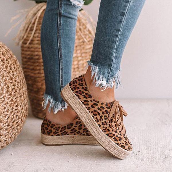 Ootdshoes Leopard Espadrille Sneaker