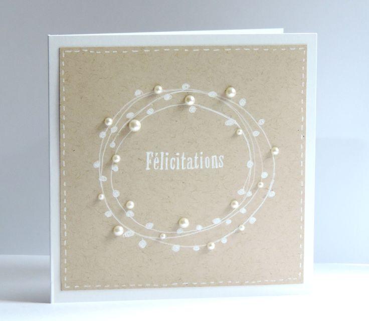 Carte de félicitations, mariage. Perles nacrées sur kraft : Cartes par couleur-myrtille