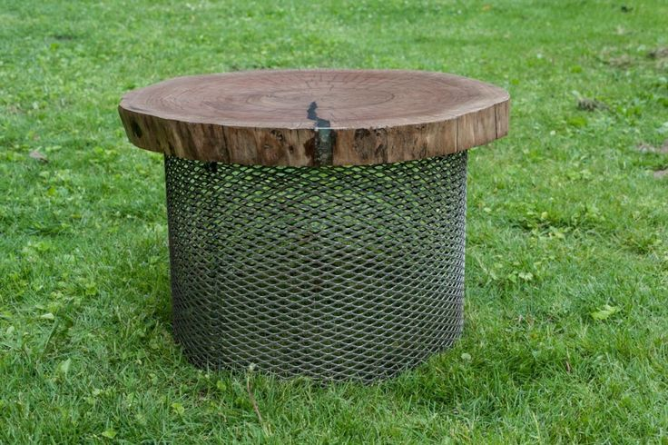 Live edge round stool with steel mesh base #Liveedge #PortDover #Handcrafted #HandmadeFurniture