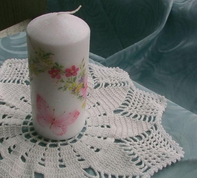 """Geschenk Muttertag Stumpen Kerze """"Blumen"""" von Manu's kleine Vintage Schatzkiste auf DaWanda.com"""