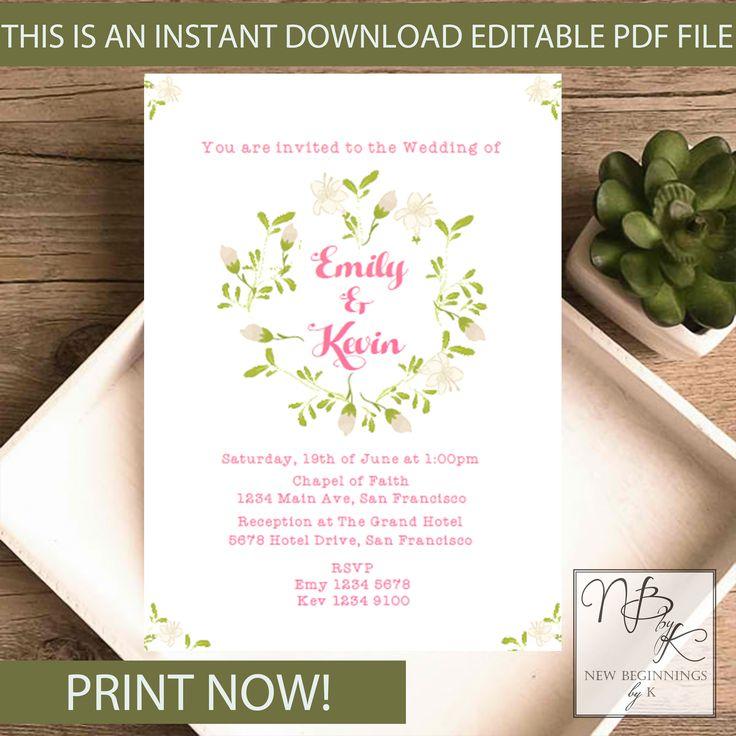 7 best Editable Wedding Invitations images by Newbeginningsbyk on ...