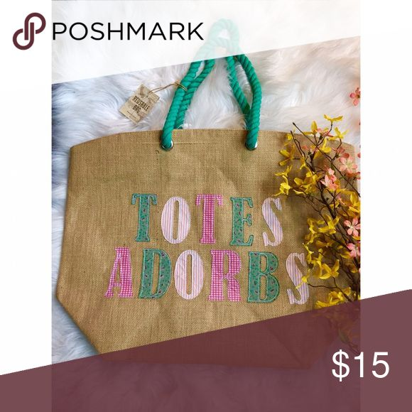 """""""Totes Adorbs"""" large tote bag 👜 """"Totes Adorbs"""" just like you! This large tote is perfect for shopping, the beach, overnights.. just about everything. It's roomy, perfect, and brand new. Urban Outfitters Bags Totes"""